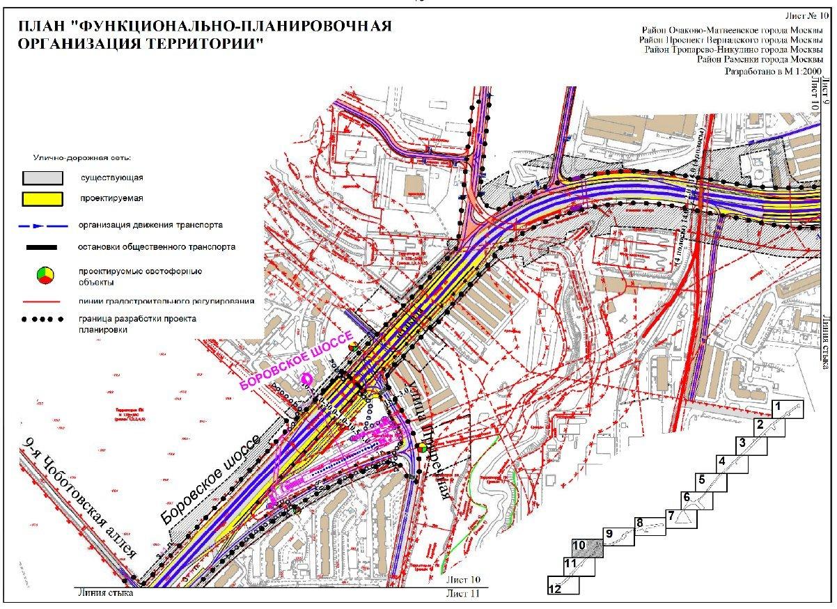 схема развязки боровского шоссе на мкаде