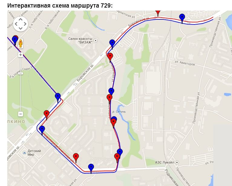 Схема маршрута 930 автобуса